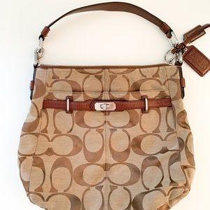 Coach handbag: hobo style,  brown leather, 14 x 12